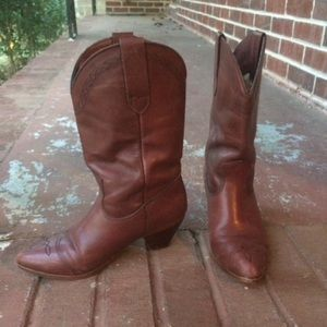 Frye Brown Leather Boots Western Cowgirl Size 6